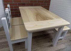 Kids Farmhouse Table Set / Activity Table / Wood Table
