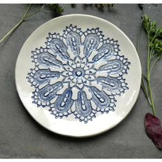 Mothers Day Ceramic Lace Plate, Blue Lace Soap Dish, Lace trinket... ($22) ❤ liked on Polyvore featuring home, home decor, handmade ceramic dishes, ceramic dish, shabby chic home decor, jewelry dish and colored dishes