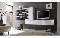Mobile porta TV a parete Design bianco e grigio scuro XENON