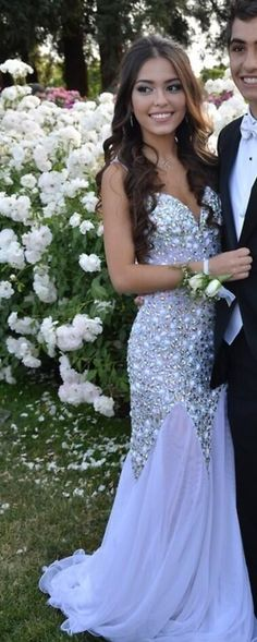White Sequin Shiny Long Mermaid Prom Dresses,Handmade Prom