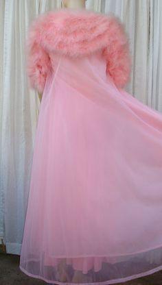 Vintage Hollywood Claire Sandra Lucie Ann Pink Maribou Peignoir Gown Robe Set | eBay