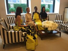 """Today I had the pleasure of attending the Carolina Herrera resort 2016 preview. It would have been an outside garden party if the weather had cooperated but it was no less fun or chic indoors. According to the notes, the resort collection began with a feather illustration. """"The idea of lightness, grace, and simplicity too […]"""