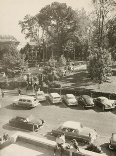 Athena Yearbook, 1957. A bird's eye view of College Green shot from Old Baker Center. :: Ohio University Archives