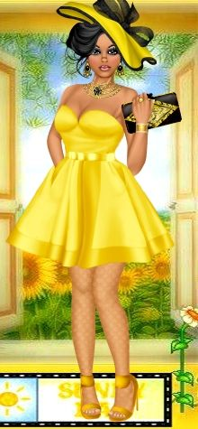 Sherisboyz has put together a fun and bright outfit for her diva. Congrats on being the Doll of the Day! Dress Up Games | Diva Chix: The Fashionista's Playground #dressupgames #fashiongames #fashion #girlgames #hat #fashionillustrations #designer #DOTD #DollOfTheDay #yellow