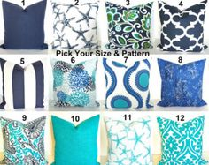 GET A WHOLE NEW LOOK JUST BY USING PILLOW COVERS! THE PILLOW COVERS CAN GO OVER A PILLOW INSERT OR YOUR EXISTING PILLOWS!  Add a FRESH NEW DESIGNER LOOK to any room with this pillow cover made for any size of pillow. It features a gorgeous Wave pattern in an array of Turquoise with Coral and Gray on a soft white background. It is made up of 100% decorator weight Indoor Outdoor fabric. It is stain, water and Sun resistant perfect for those sun porches. * * * THIS LISTING IS FOR 1 PILLOW…