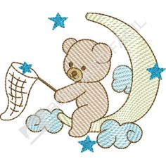 Teddy bear on the moon Machine Applique, Free Machine Embroidery Designs, Hand Embroidery Patterns, Patch Quilt, Applique Templates, Applique Designs, Baby Quilt Patterns, Baby Embroidery, Baby Quilts