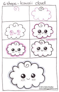 Draw a kawaii cloud in 6 steps. This is another in the step by step how to draw series. And it's now been made into a video! See this at www.youtube.com/learntodrawtoday
