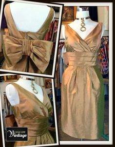 Vintage Gold Camel Silk Cocktail Party Dress by HighLowVintage