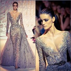 #Inspiration2sday @zuhairmuradofficial #silver #glamorous #dress #zuhairmurad #crystallized #beads  #elegant.....take your dresses to a new lever with crystals and trims