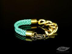 by (Oleel) ON SALE Silken Mint Cords Bracelet with Golden Chain, Oleel, Jewelry, Bracelet, Bangle, Bangle, Big Chain, Chunky, Chain Bracelet, Fashion Jewelry, Chunky Gold Chain, Heavy Chain, Love Bangle, Gift, Golden, Jewelry, Twisted,