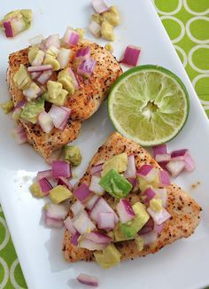 6. Baked Cayenne-Rubbed Chicken With Avocado Salsa #greatist http://greatist.com/health/healthy-exciting-chicken-breast-recipes