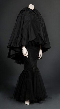 ~Title: Evening Dress with Cape Date: 1955 Designer: Howard Greer Material: Silk taffeta/ Silk tulle/ Silk faille/ Metal~