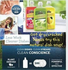 I LOVE using this soap for my dishes! At the moment we don't have a dishwasher, and this stuff has worked wonders on our dishes that usually rust and get hard water attached. Melaluca Products, Natural Cleaning Products, Natural Products, Melaleuca The Wellness Company, Best Dishes, Healthy Options, Natural Living, Aloe Vera, Health And Wellness