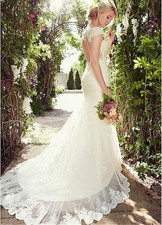 Elegant Tulle Bateau Neckline Natural Waistline Mermaid Wedding Dress With Beaded Lace appliques