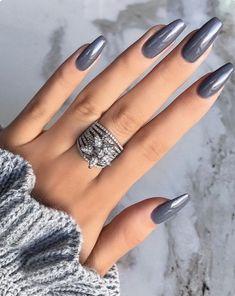 nails one color short - nails one color ; nails one color simple ; nails one color acrylic ; nails one color summer ; nails one color winter ; nails one color short ; nails one color gel ; nails one color matte Coffin Nails 2018, Acrylic Nails Coffin Grey, Acrylic Art, Gray Nails, Matte Nails, Shellac Manicure, Manicure Ideas, Dark Nude Nails, Black Chrome Nails