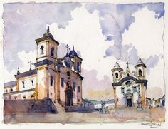 """Mariana"" - Sketch pencil & watercolor by Victor Peru. Mariana is the oldest of the colonial mining towns in Minas Gerais, Brazil."