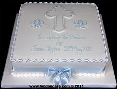 003827 Baptism Cake with Sugarpaste Cross and Flowers. Baby Christening Cakes, Baby Boy Cakes, Girl Cakes, Boy Communion Cake, First Holy Communion Cake, Baptism Sheet Cake, Baptism Cookies, Confirmation Cakes, Baptism Decorations