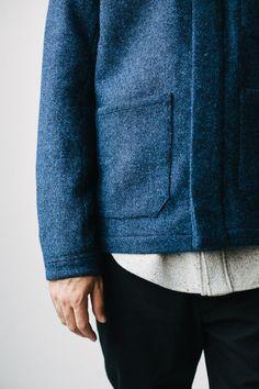 Ouwe Paparazzi. Blue wool coat, jacket, overshirt. Black denim.