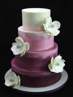 Plum Ombre Wedding Cake                                                                                                                                                      More