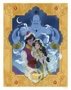Aladdin (Disney) - Aladdin x Princess Jasmine Disney Pixar, Disney Amor, Deco Disney, Animation Disney, Disney Fan Art, Disney And Dreamworks, Disney Love, Disney Magic, Disney Characters