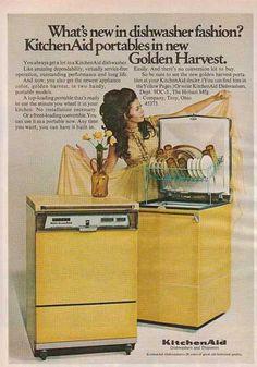 Vintage Ad for Kitchen Aid Portable Dishwashers In New Golden Harvest Old Advertisements, Retro Advertising, Retro Ads, Vintage Ads, Retro Humor, Vintage Paper, Kitchenaid Dishwasher, Portable Dishwasher, Vintage Appliances