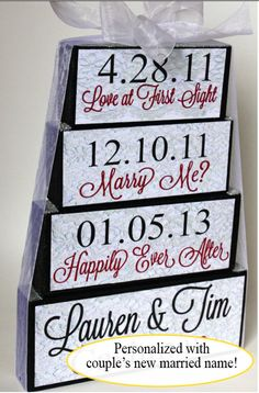 Special Dates - Shower or Wedding Centerpiece or Keepsake. $28.50, via Etsy.