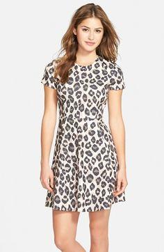 Eliza+J+Leopard+Print+Ponte+Fit+&+Flare+Dress+(Regular+&+Petite)+available+at+#Nordstrom