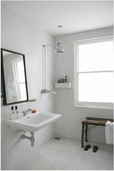 penny tile floor, bathroom, white, interiors, design
