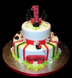 A Ladybug for the Little Lady Turning 1   This ladybug cake is absolutely adorable! A ladybug theme 1st birthday theme is a super cute idea for a little girl and this cake definitely captures the theme.