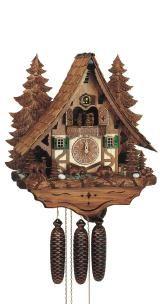 Relógio de Cuco <br> Chalet com o movimento urso e roda de moinho
