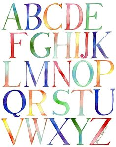 Alphabet Watercolor Painting - Typography Kids Room Watercolor Art Print, Rainbow Letters - 11x14 Wall Art. $20.00, via Etsy.