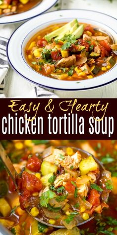 Hearty Chicken Tortilla Soup filled with vegetables, chicken, chipotle peppers and fresh cilantro. This warm soup is the perfect winter lunch or dinner! Warm up from the inside out. Top this chicken tortilla soup with avocado for a healthy recipe that's a Authentic Chicken Tortilla Soup, Healthy Chicken Tortilla Soup, Healthy Soup, Healthy Recipes, Paleo Soup, Chicken Chipotle Soup Recipe, Recipe For Tortilla Soup, Tortilla Chips, Slow Cooker Tortilla Soup