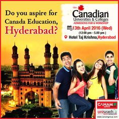 Hyderabad youth meet us up tomorrow to know details of #CanadaEducation. India's leading and most trusted #Immigration_Consultancy #CanamConsultants are coming to your city with exclusive #CanadaEducation_Workshop. Hurry, reserve your seat now! #Studyabroad #StudyinCanada #CanadaStudy #Canada_Student_Visa #Canada_Study_Visa  For complete information & enrolment, Contact CANAM on - 1800-200-5499 or Register Here http://canadaedufair.com/register.php?city=Hyderabad