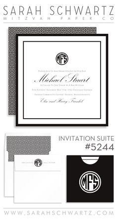 A monogram black and white Bar Mitzvah invitation suite with a lattice pattern