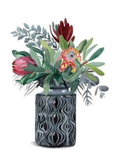 Proteas and Natives in Grey Onion Vase Ed. 9 of 100 by Sally Browne. Protea Art, Scandinavian Wall Decor, Native Tattoos, Australian Native Flowers, Eucalyptus, Guache, Plant Art, Love Painting, Flower Art