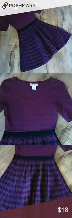 Candies dress  small Beautiful purple and black houndstooth pattern on the bottom ribbed sweater on the top. In good condition this dress is 78% rayon 22% polyester this dress is 31 in Long Candie's Dresses Midi