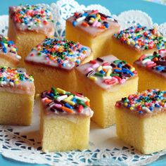 "WIN! -- Tiny Teacakes for Tea Time - UPDATE: Made these for a ""Beauty and the Beast"" tea party. Used angel food cake instead of pound cake. Very simple, quick and easy! Infinite possibilities too. Kids could decorate their own for a party activity with different colored sugars and sprinkles to choose from. The icing is simple and cheap to make."
