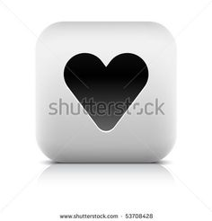All web button this series internet icon http://www.shutterstock.com/sets/101711-stone-white-button.html?rid=498844 — Stone internet web button heart symbol. White rounded square shape with shadow and reflection. White background — #Royalty #free #stock #vector #illustration for $0.28 per download