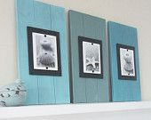 Painted wood scraps & $5 cheap frames from any store! What a fabulous way to add color and make your b/w's stand out!