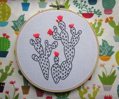 Neon cacti embroidery hoop art. Colourful by maggiemagoodesigns