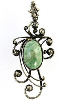 Jade Pendant Sterling Silver Art Nouveau Vintage Necklace – Yourgreatfinds