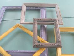 Picture Frame Wall Collage Purple Yellow and by TheDezignShoppe Shabby Chic Wardrobe, Shabby Chic Office, Shabby Chic Desk, Shabby Chic Frames, Frame Wall Collage, Frames On Wall, Picture Wall, Picture Frames, Shabby Chic Kitchen Table
