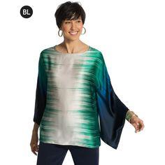 9250562d2e83 Chico s Black Label Silk Kimono Top (290 QAR) ❤ liked on Polyvore featuring  tops