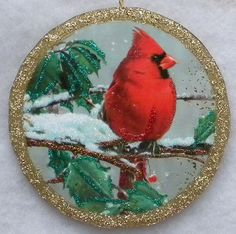 Red Bird On Snowy Branch Bauble Greeting Card Glittered Wood Christmas Ornament