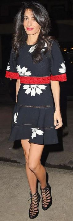 Who made Amal Clooney's red floral dress and black lace sandals?