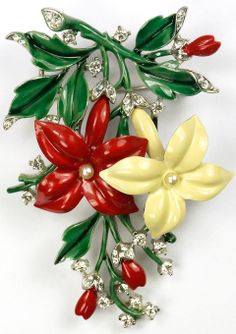 Trifari 'Alfred Philippe' Pave Pearls and Enamel Red and Yellow Clematis Pin