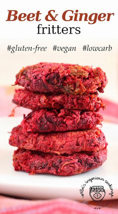 Beet & ginger fritters ( #glutenfree, #vegan, #lowcarb, #healthy #recipe)....bake or dry fry.