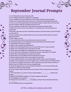 September Monthly Journal Prompts Challenge Self-discovery September journal prompts. These prompts help to promote mental,spiritual, emotional health through self awareness questions and inspiration Writing Challenge, Writing Tips, Stress Management, Planners, Daily Journal Prompts, Journal Questions, Therapy Journal, Coaching, Self Care Activities