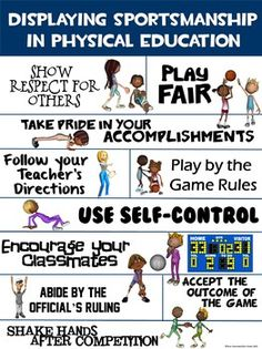 PE Poster: Displaying Sportsmanship in Physical EducationYou can find Physical education and more on our website.PE Poster: Displaying Sportsmanship in Physical Education Physical Education Rules, Health Education, Education Posters, Character Education, Education Quotes, Special Education, India Education, Values Education, Education Jobs