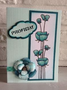 """Stempel Hero Arts """"Delicate Blossoms"""" ingekleurd met Copics-Blazing Poppy Petals Cling stamp set & Poppy die van Heartfelt Creations- """"Proficiat"""" v Nellie Snellen."""